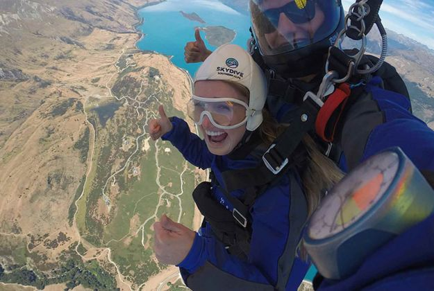 Sky diving over the southern alps